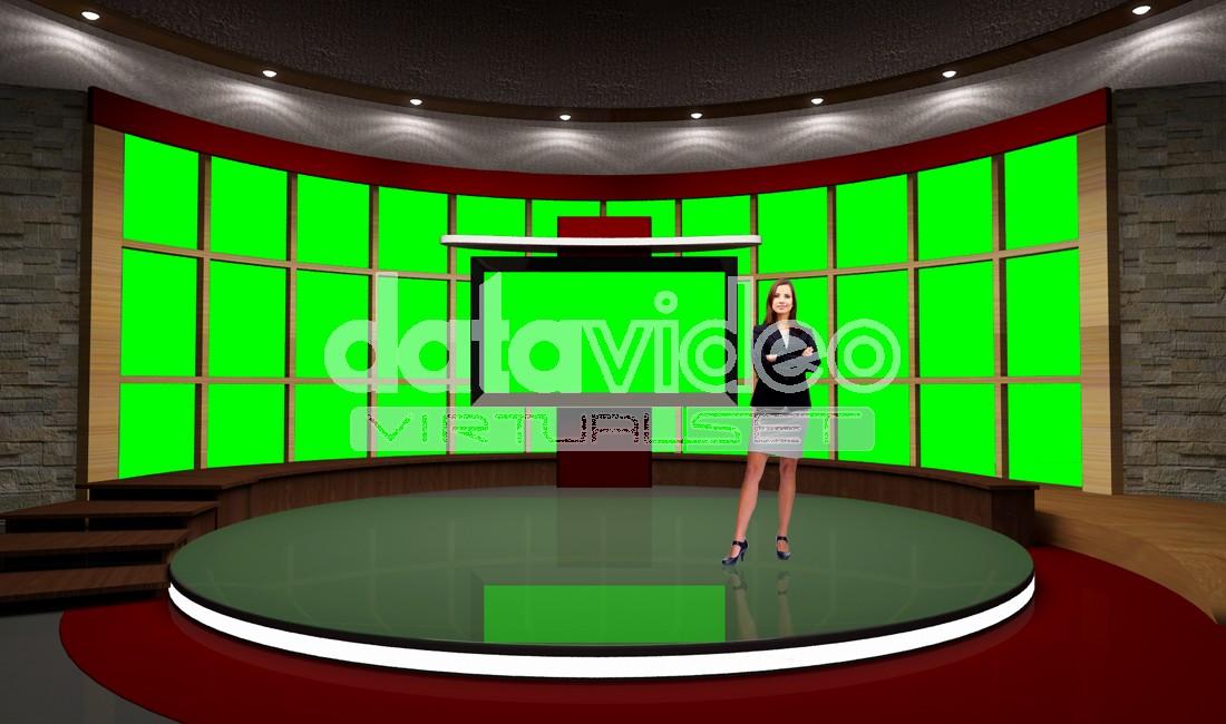 News-031 TV Studio Set-Virtual Green Screen Background PSD