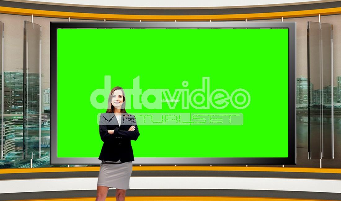 News 025 TV Studio Set Virtual Green Screen Background PSD