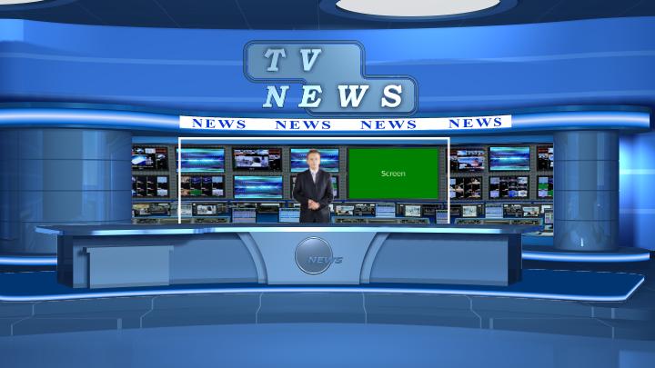 新闻演播室虚拟背景——蓝色风格