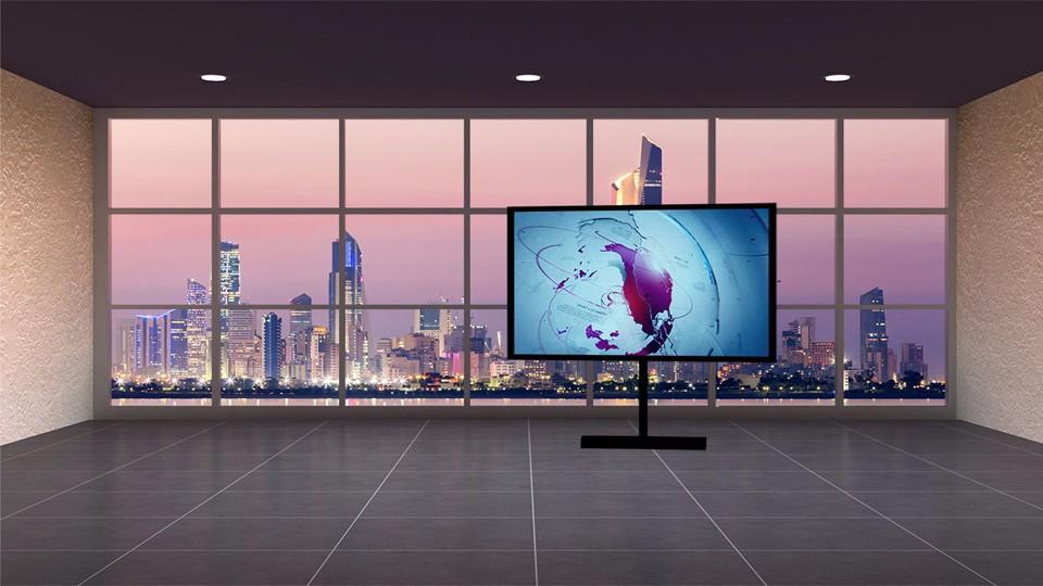 黄昏日落办公室风格虚拟演播室背景素材