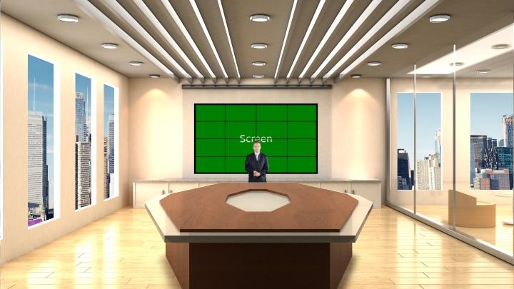 明亮办公室虚拟演播室背景