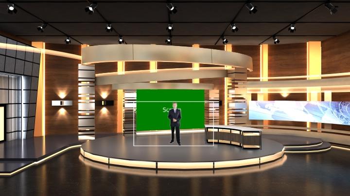 虚拟橙色调虚拟演播室背景