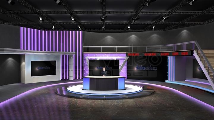 【TVS-2000A】紫色LED灯新闻虚拟演播室