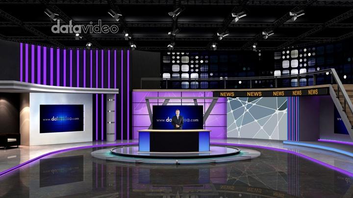 紫色LED灯新闻虚拟演播室