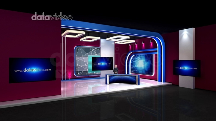 简单的紫红色彩色新闻虚拟演播室