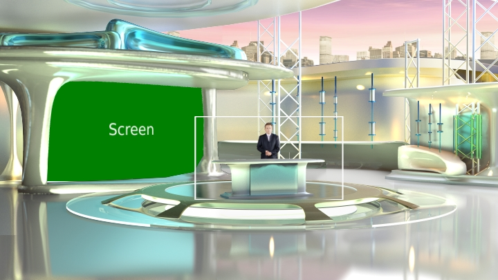 银白色流线型虚拟演播室背景