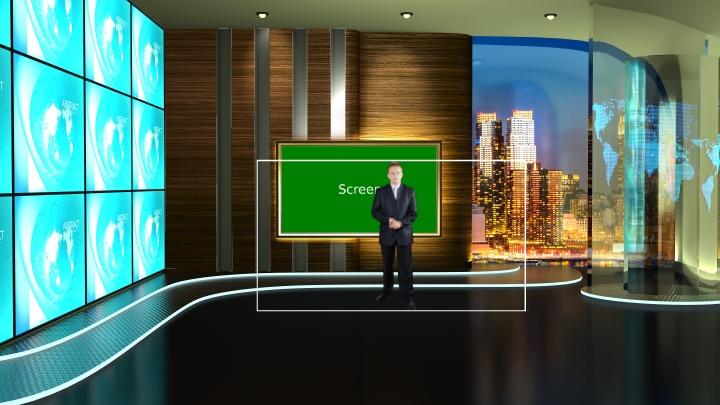 电视墙风格虚拟演播室背景素材