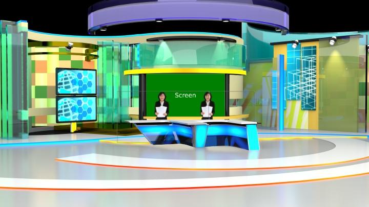 高对比色风格的新闻虚拟演播室背景素材