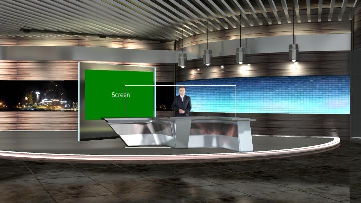 金属质感虚拟演播室背景场景素材