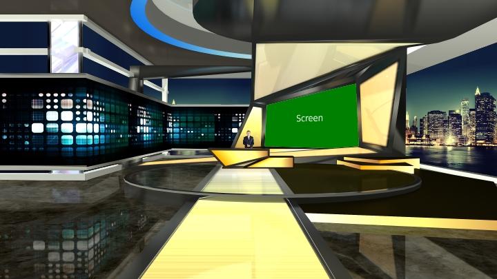 黄色和黑色主题虚拟演播室场景