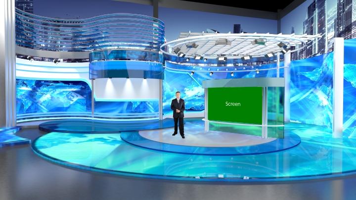 水蓝色玻璃风格虚拟演播室场景