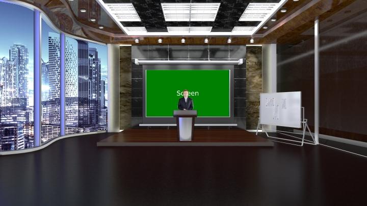 简约风格虚拟演播室场景