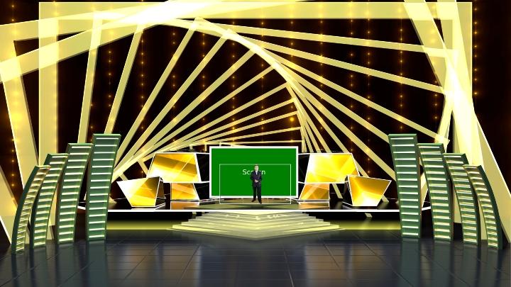 黄金广场舞台风格虚拟演播室场景