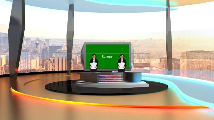 简约弧形虚拟演播室场景