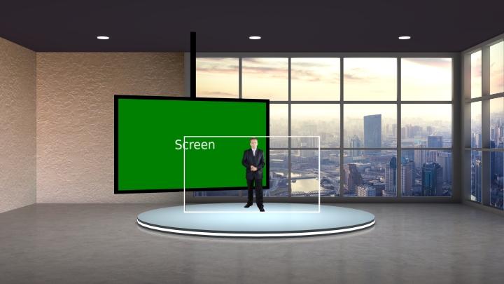 简单方框窗口虚拟演播室背景