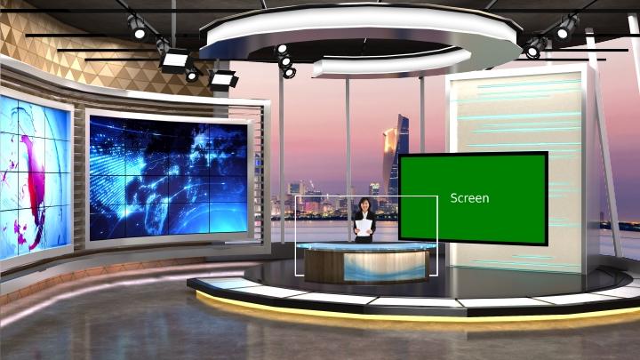 现代艺术虚拟演播室背景