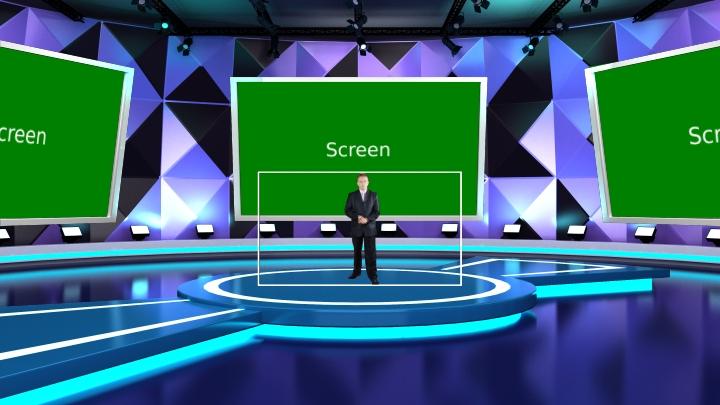 三角形墙面风格虚拟演播室场景