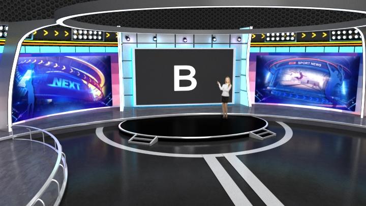 运动风格虚拟演播室背景