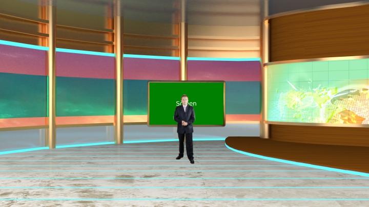 简约金色风格虚拟演播室背景