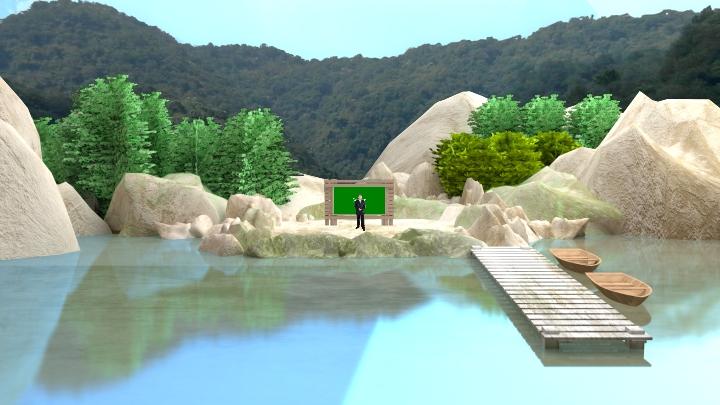 湖景风格虚拟演播室背景