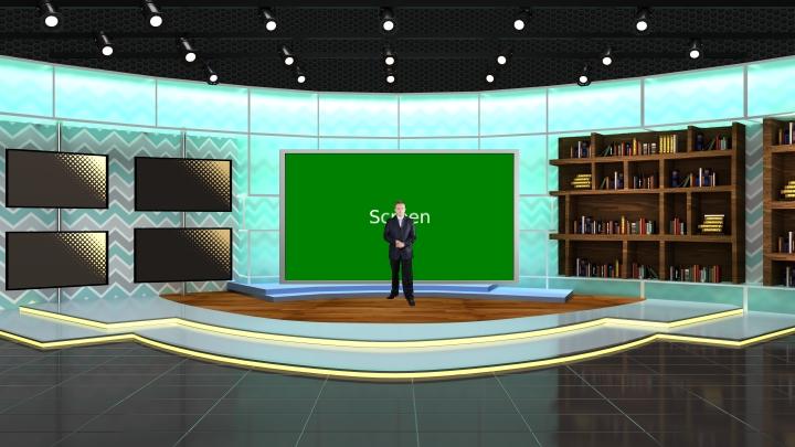 书房风格虚拟演播室背景