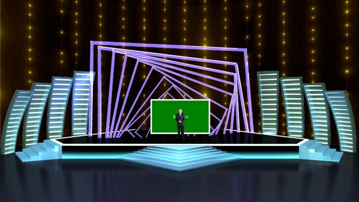 方形框架环形舞台虚拟演播室背景