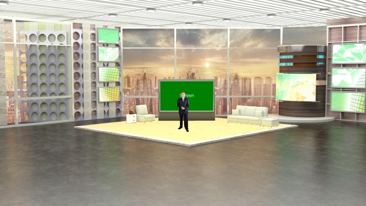 明亮空间虚拟演播室背景