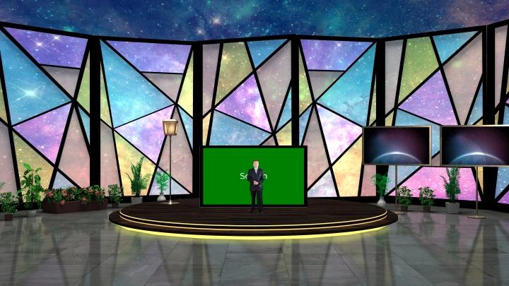 星空,彩色玻璃虚拟演播室背景