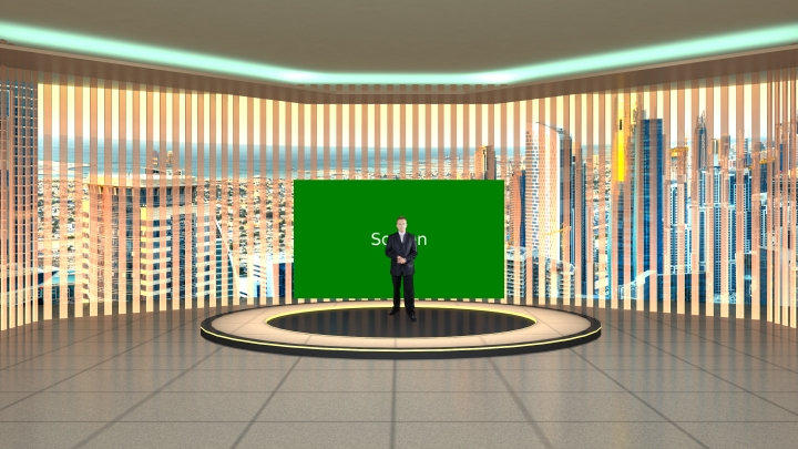 城市背景虚拟演播室背景素材
