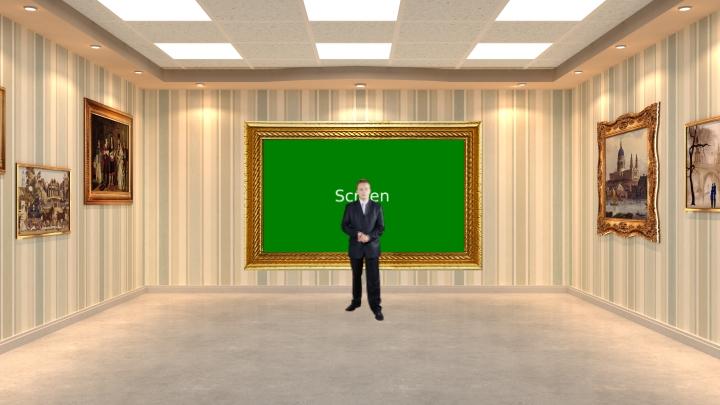 欧洲画廊虚拟演播室背景素材