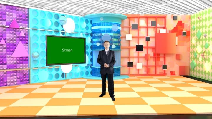 几何风格娱乐虚拟演播室背景素材