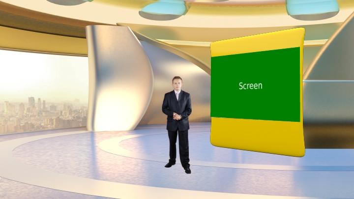 简约金色拱形墙的虚拟新闻演播室