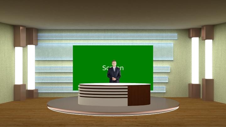 简约且明亮的虚拟演播室场景