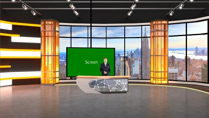 橙色风格虚拟演播室背景素材