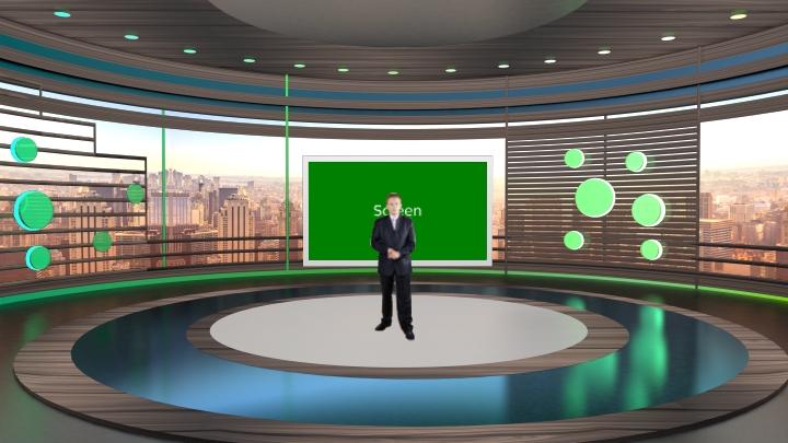 棕色设计与圆舞台虚拟新闻类型虚拟演播室背景素材