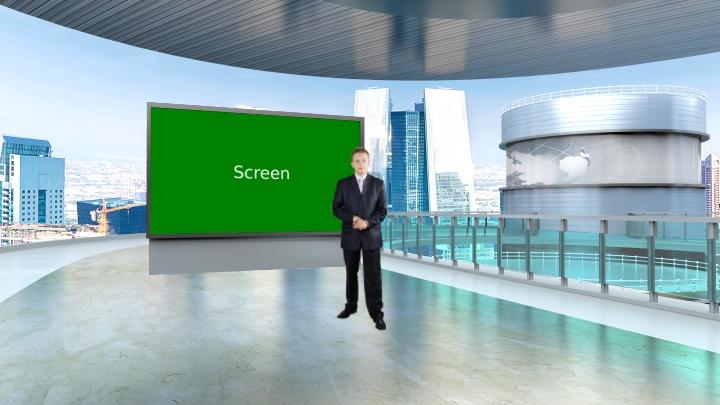 城市景观设计简单风格虚拟演播室背景