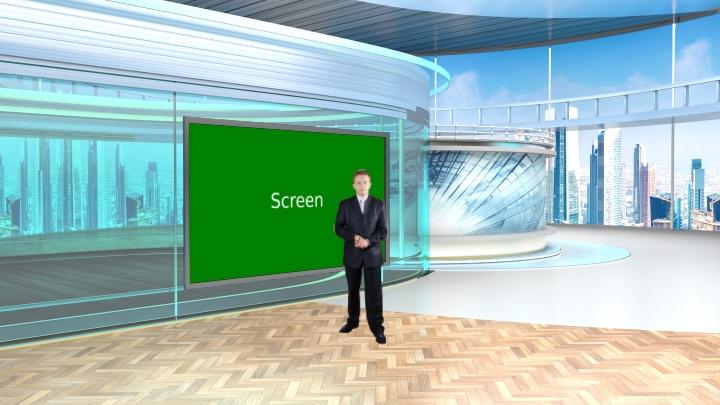 天气预告用虚拟演播室背景