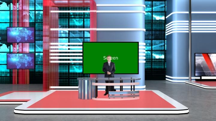 几何线虚拟演播室背景素材