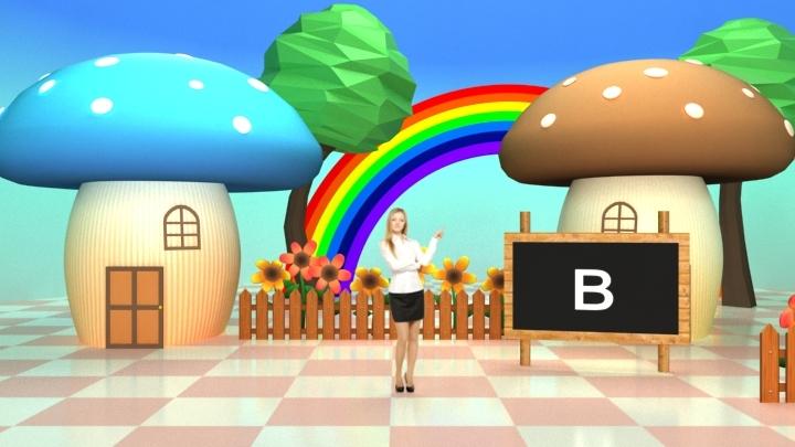 儿童漫画虚拟演播室背景素材