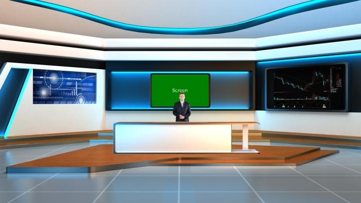 财经新闻类风格虚拟演播室背景素材