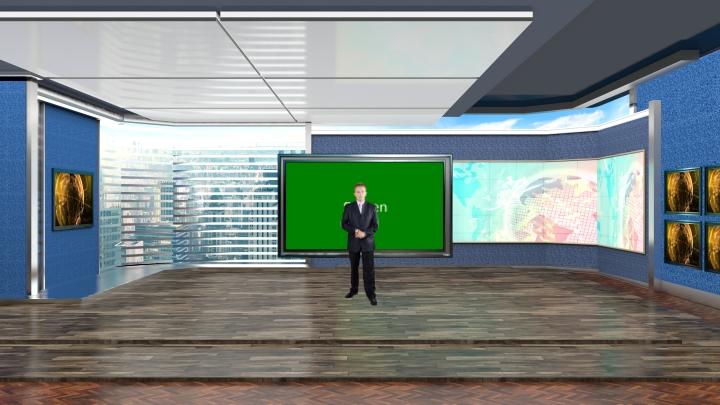 室内会议室风格虚拟演播室背景素材