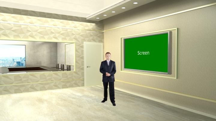 米色风格虚拟演播室背景素材