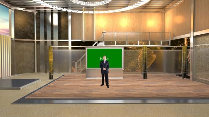 暖色风格虚拟演播室背景
