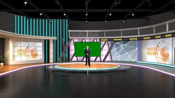 弧形虚拟演播室场景背景素材