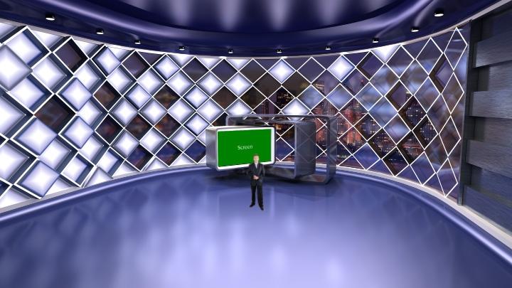 紫色镶钻石形虚拟演播室背景