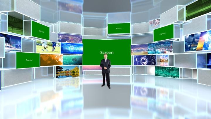 矩形透明风格虚拟演播室背景